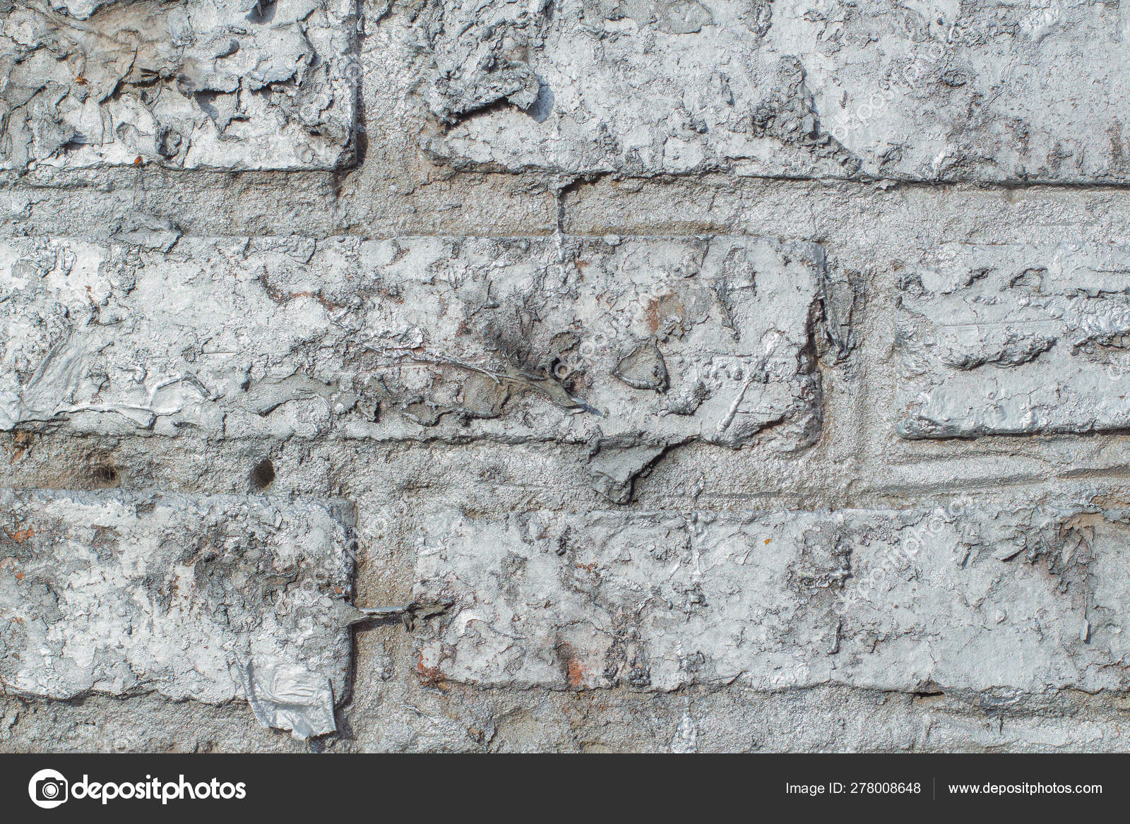 Background Of Brick Wall Texture Painted Silver Paint Stock Photo