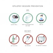 Photo Epilepsy seizure pervention. Set of icons do and do not in order to avvoid epilepsy seizure.