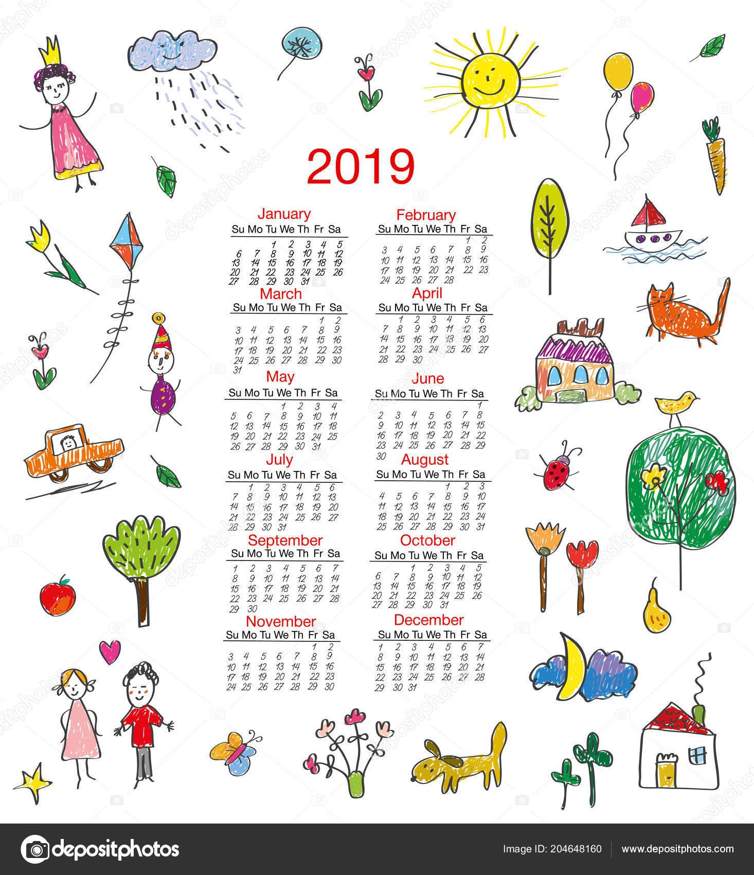 Календарь картинки для детей распечатать
