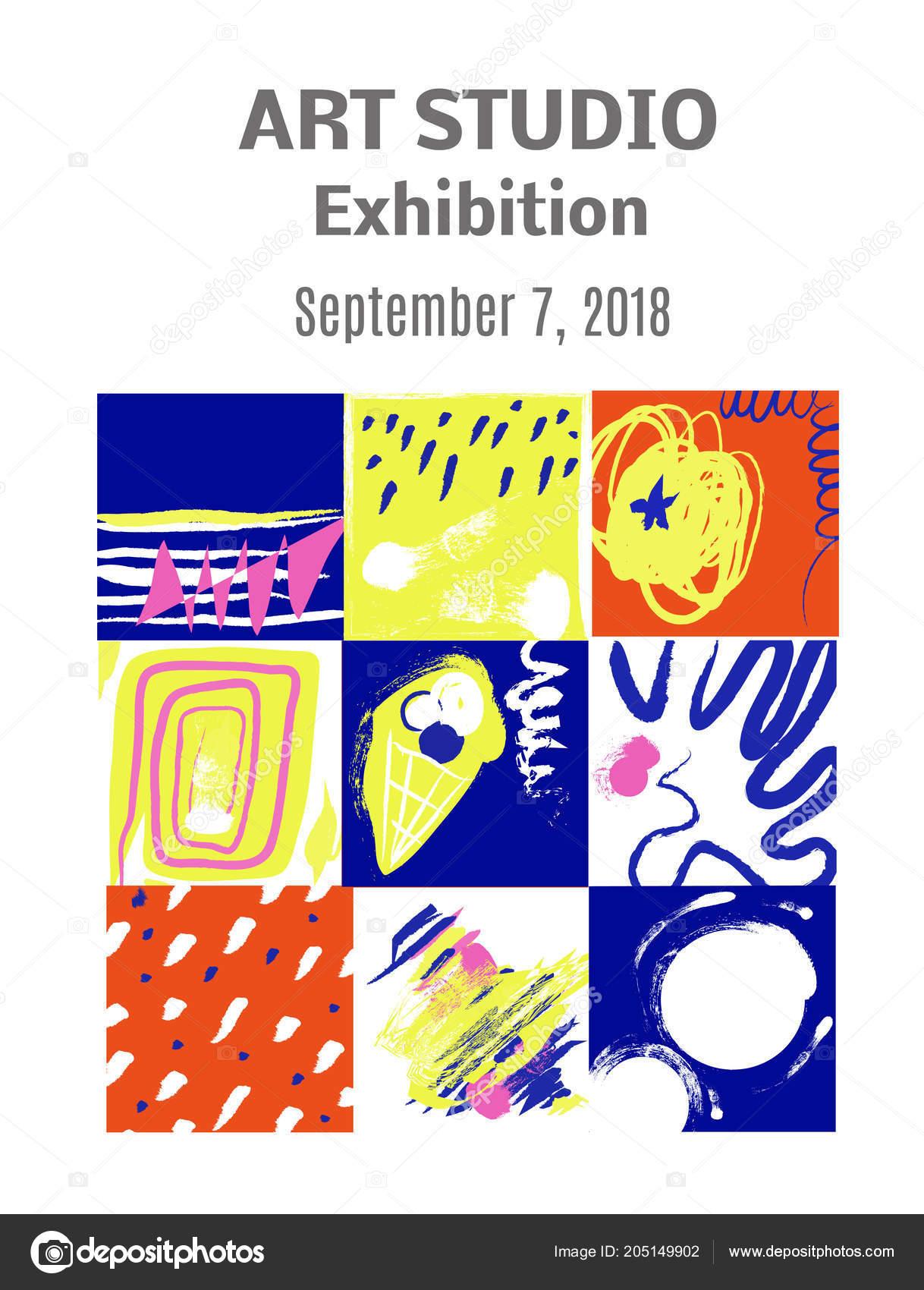 Moderne Kunst Gemälde Ausstellung Einladung Entwurf Mit Bildern Und