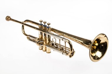 Old trumpet on an isolated studio background