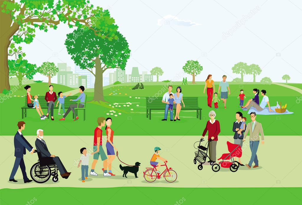 City park with people and families in the leisure stock vector