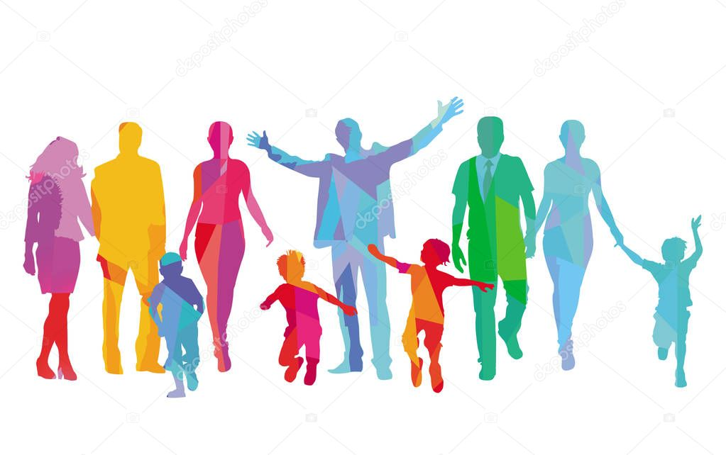 Families with children, parents and friends are having fun stock vector