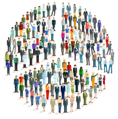 Large group of people in the form of a peace symbol, - vector illustration stock vector