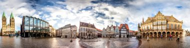 Skyline of Bremen main market square in the centre of the Hanseatic City, Germany. 360 degree panoramic montage from 37 images