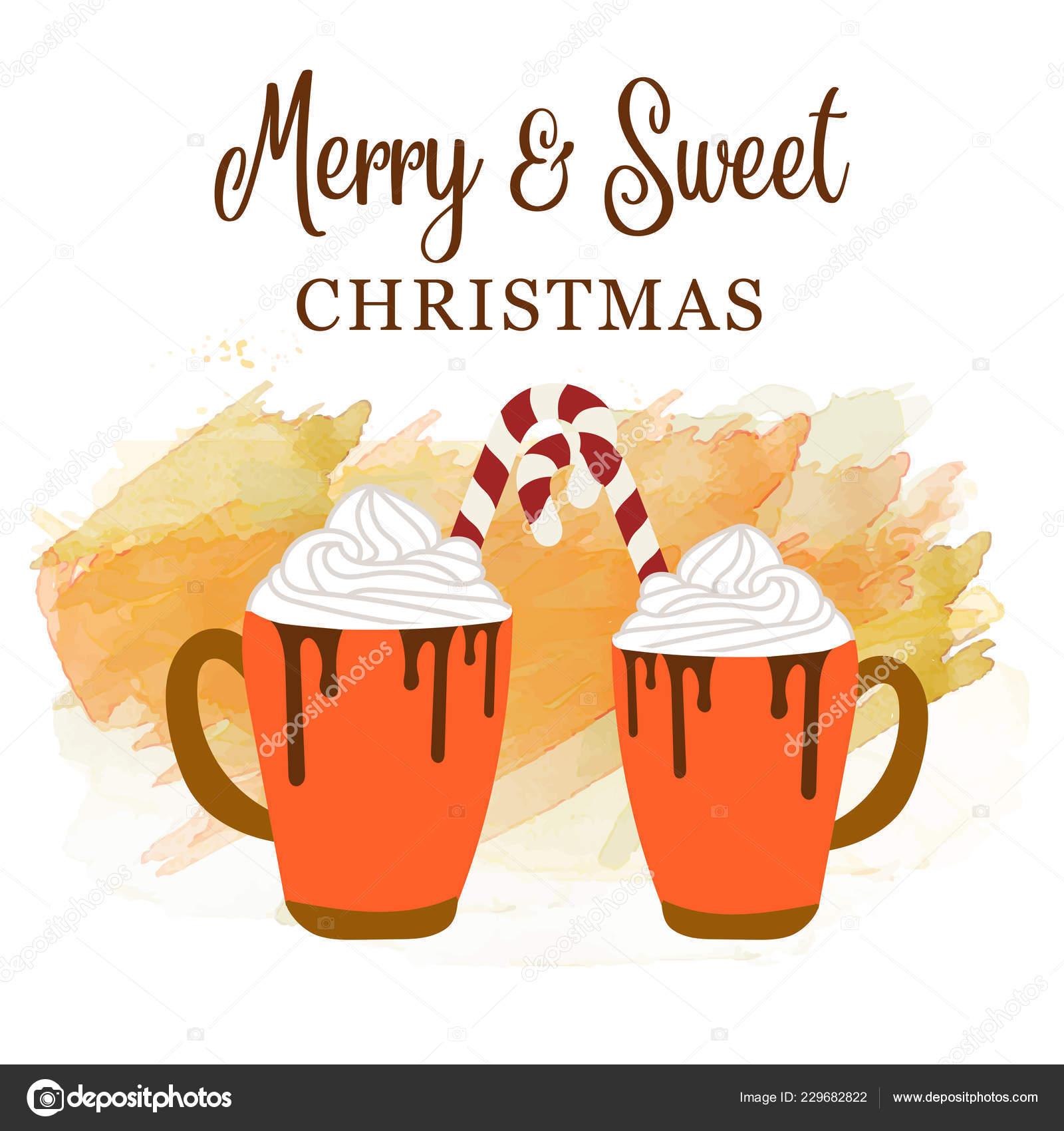 Jolie Carte Noël Avec Canne Chaude Chocolat Bonbons Amour