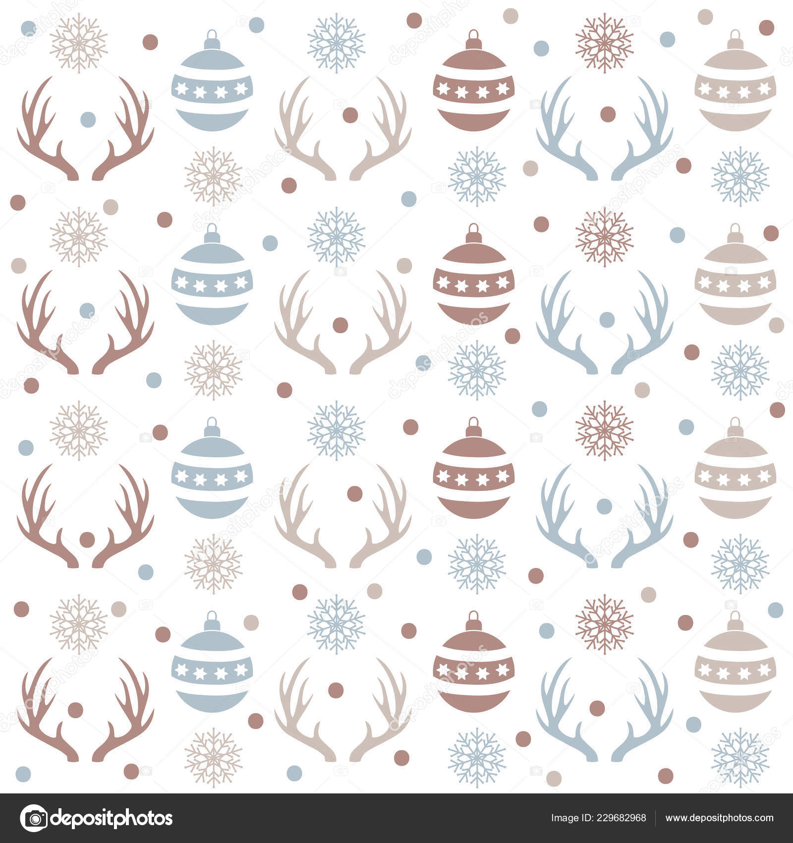Patrón Sin Fisuras Navidad Con Bolas Cuernos Reno Nieve Fondo ...