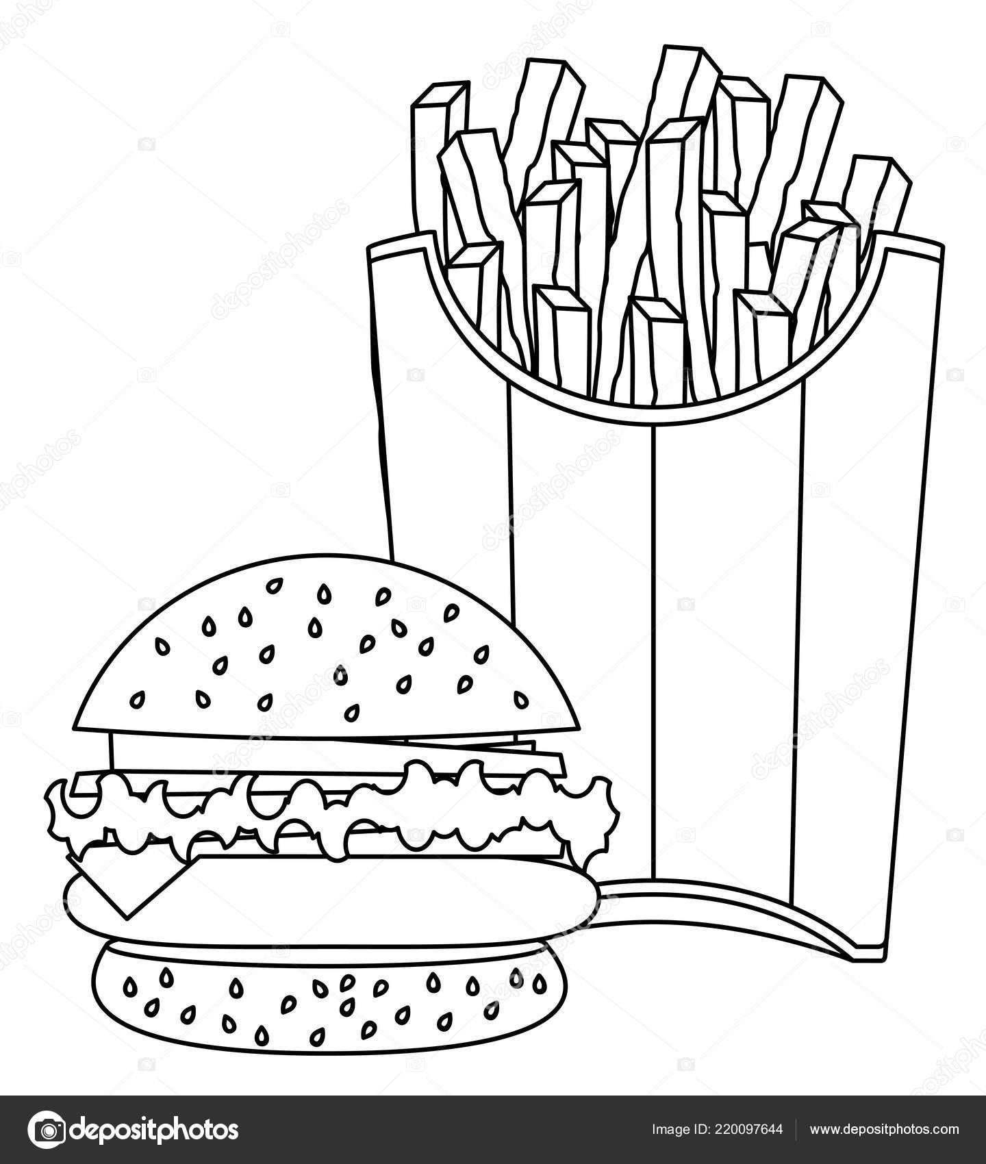 Hamburger French Fries Drawing Vector Eps Stock Vector