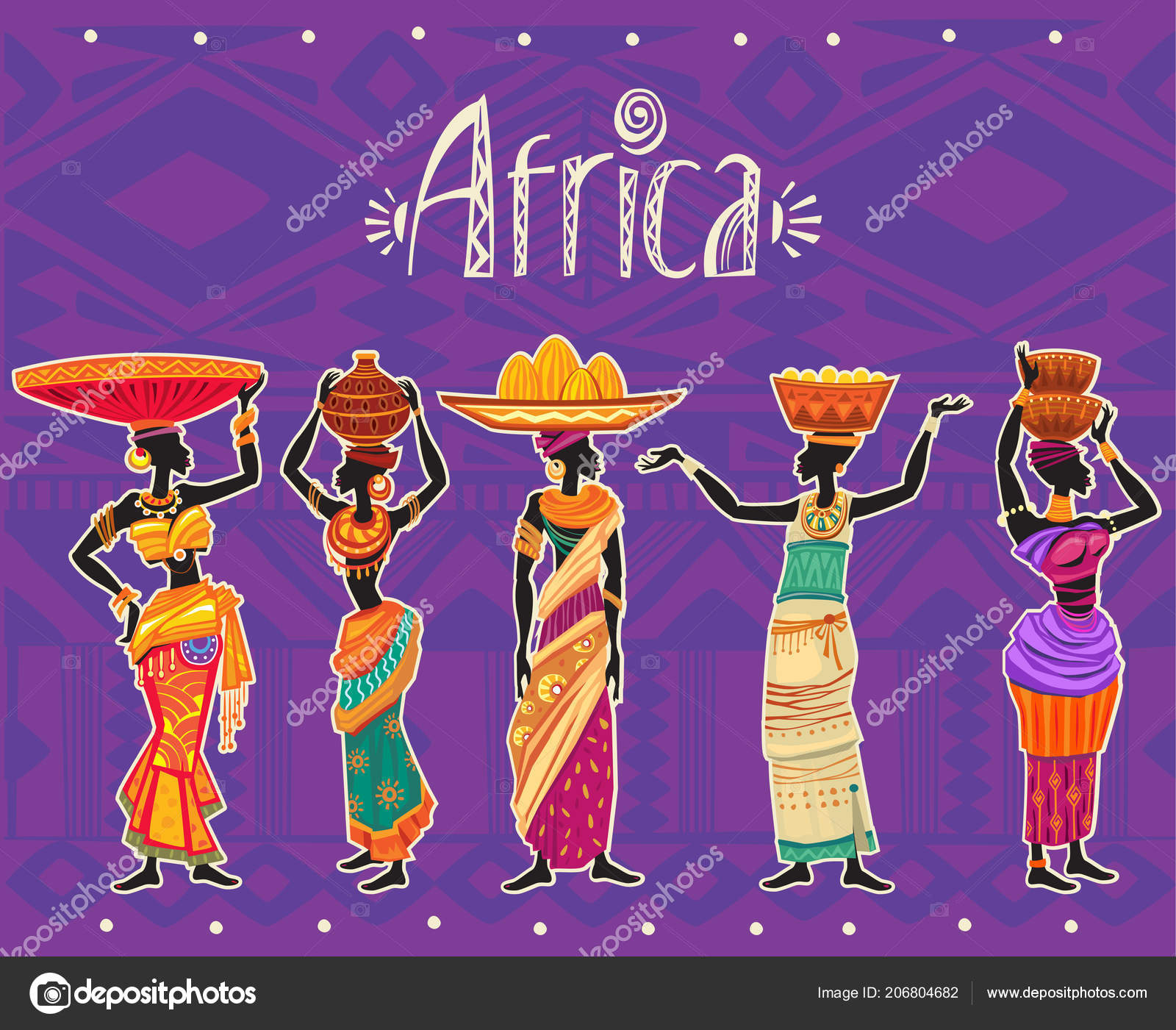 set african woman ethnic dress tribal ornament background africa