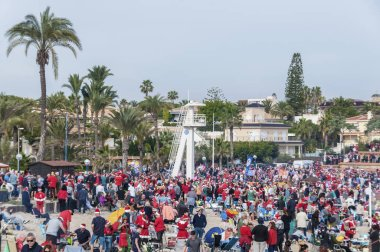 12/25/2018. Photo of big crowd of people at la zenia public beach in torrevieja on christmas day. Spain