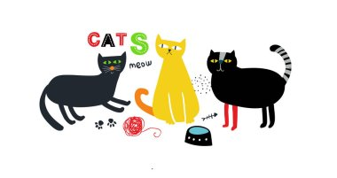 Creative print with cute colorful cats hand drawn in cartoon scandinavian style.