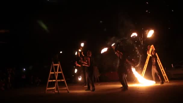 Gabrovo, Bulgaria July 29, 2018. International Festival of Alternative Arts. Young people take part in a fire show.
