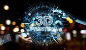 Robota bílou ruku na rozmazané pozadí pomocí 3d tisku digitální hologram 3d vykreslování