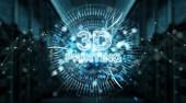 3D tisk digitální text hologram na modré serveru vykreslování 3d pozadí