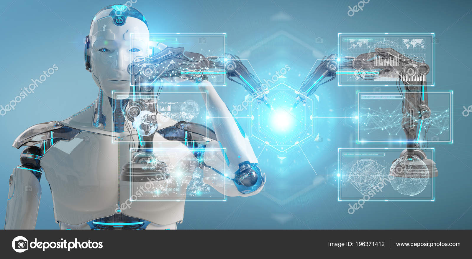 White Man Robot Blurred Background Using Robotics Arms Digital