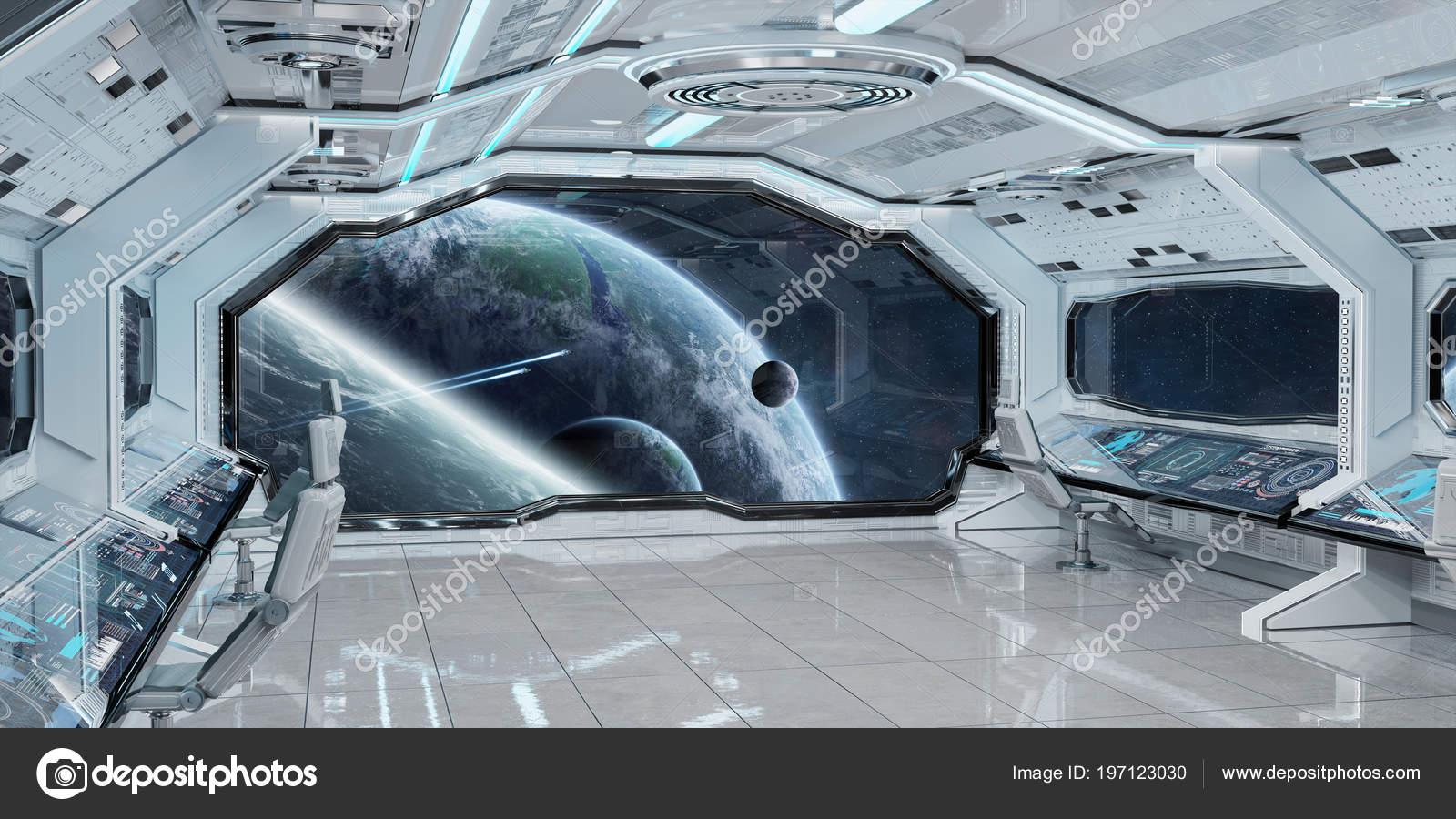 Interior De Ventana De Nave Espacial: Interior Nave Espacial Limpio Blanco Con Vistas Elementos