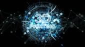 3D hologram tisk digitální text na černém pozadí 3d vykreslování
