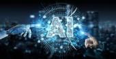 Bílá humanoidní ruku na rozmazané pozadí pomocí digitálních umělé inteligence ikonu hologram 3d vykreslování