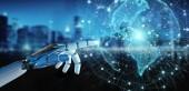 Bílé kyborg rukou na rozmazané pozadí pomocí planet Earth rozhraní 3d vykreslování