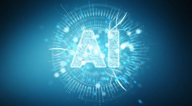 Digital artificial intelligence text hologram on blue background 3D rendering