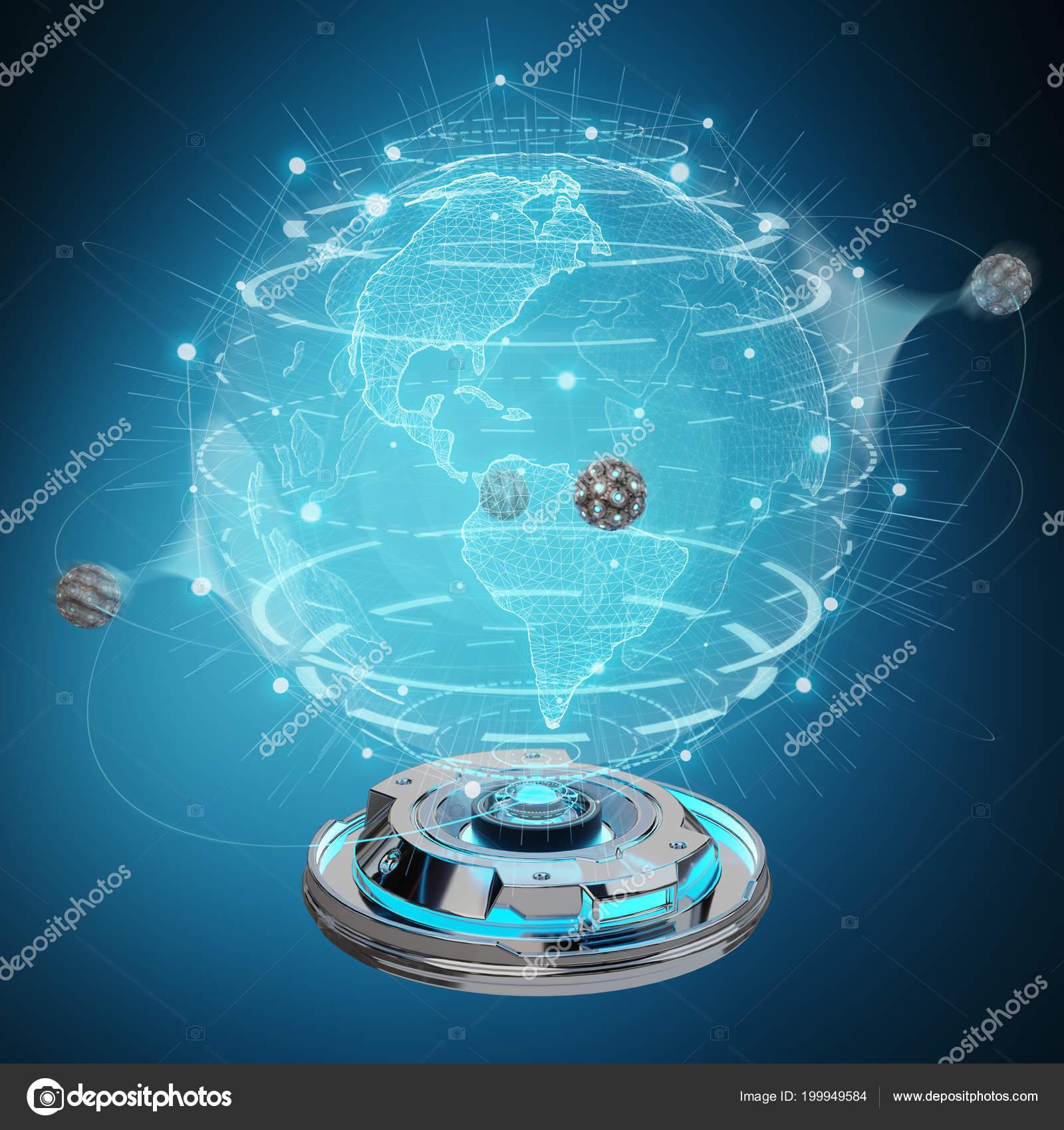 Globe Network Hologram Projector Digital Connection Blue Background