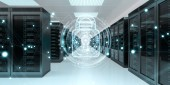 Fotografie Weiße und blaue Firewall aktiviert auf Serverdaten Zimmer Zentrum 3D-Rendering
