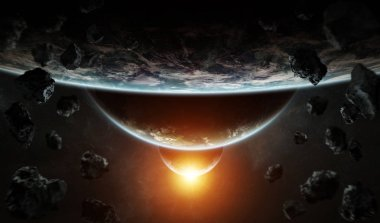 Distant planet system in space with exoplanets during sunrise 3D rendering elements of this image furnished by NASA