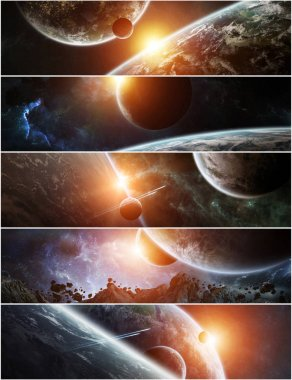 Collection of panorama of distant planet system in space 3D rendering elements of this image furnished by NASA