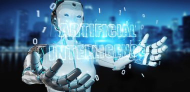 White cyborg woman on blurred background using digital artificial intelligence text hologram 3D rendering