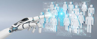 White cyborg hand on blurred background controlling group of people 3D rendering