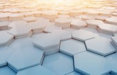 Blue and orange abstract hexagons background pattern 3D rendering