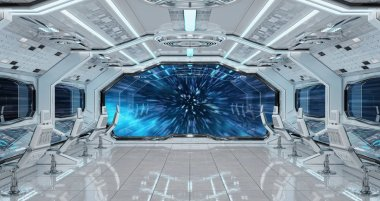 White clean spaceship interior jumping to light speed 3D rendering elements of this image furnished by NASA
