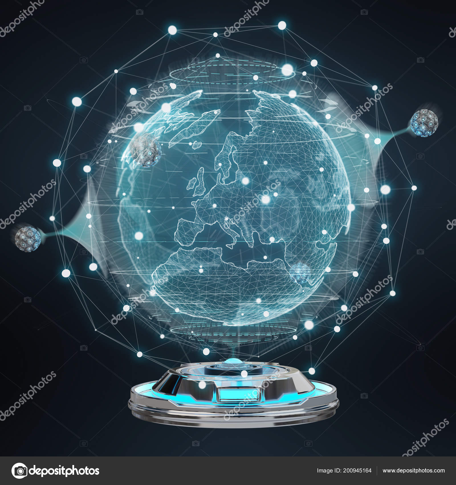 Globe Network Hologram Projector Digital Connection Dark Background