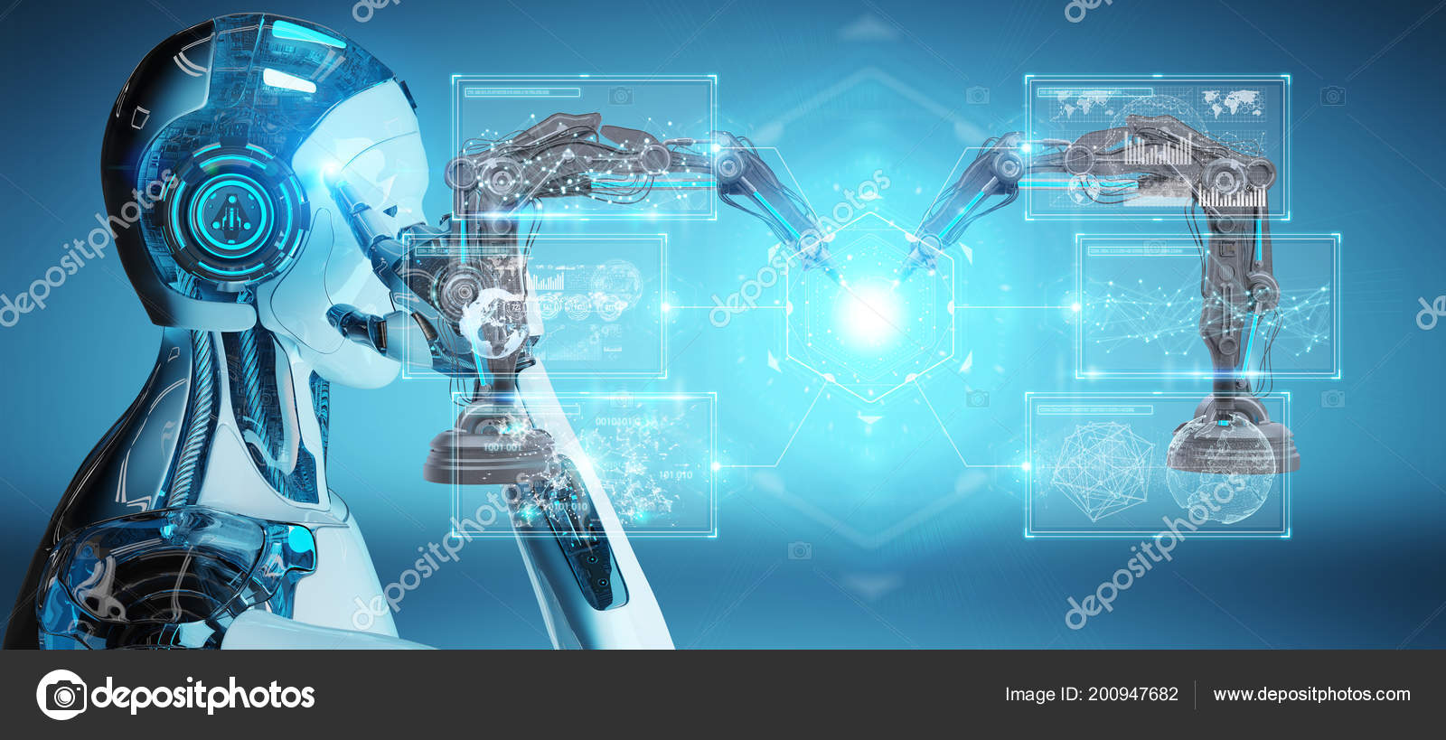 White Man Robot Blurred Background Using Robotics Arms Digital