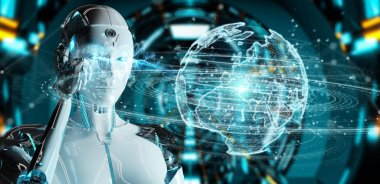 White humanoid woman on blurred background using globe network hologram with Europe map 3D rendering