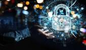 Podnikatel na rozmazané pozadí chrání jeho údaje s digitální bezpečnostní hologram 3d vykreslování