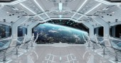 Fotografie White clean spaceship interior with view on planet Earth 3D rendering elements of this image furnished by NASA