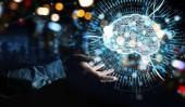 Podnikatel na rozostřeného pozadí pomocí digitálních umělé inteligence ikonu hologram 3d vykreslování