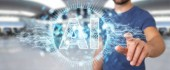 Fotografie Businessman on blurred background using digital artificial intelligence icon hologram 3D rendering