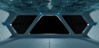 Spaceship futuristic grey blue interior with view on isolated black window