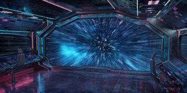 Grunge Spaceship blue and pink interior jumping to light speed 3D rendering elements of this image furnished by NASA