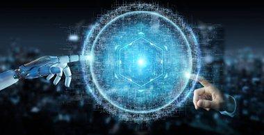 White robot hand on blurred background using digital sphere connection hologram 3D rendering