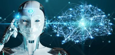 White woman humanoid on blurred background creating artificial intelligence 3D rendering