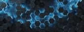 Fotografie Schwarze und blaue abstrakte Sechsecke Hintergrund Muster 3D-Rendering