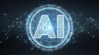 Digital artificial intelligence text hologram on blue grey background 3D rendering