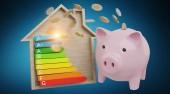 Fotografie Energie-Diagramm Rating und Sparschwein Illustration auf blauem Hintergrund 3D-Rendering