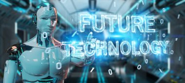 White robot on blurred background using future technology text hologram 3D rendering