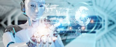 White woman cyborg on blurred background using digital datas interface 3D rendering