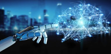 White humanoid hand on blurred background creating artificial intelligence 3D rendering