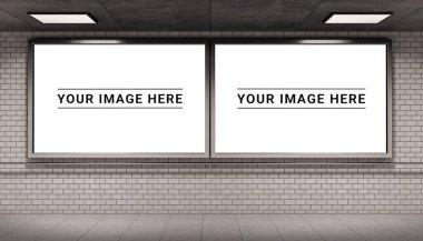 Two billboards frames in white underground tube station mockup 3D rendering